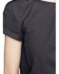Mango - Black Linen and Cotton Pleated Dress - Lyst