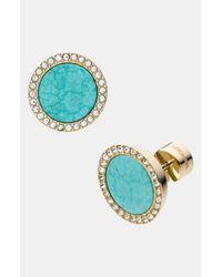 MICHAEL Michael Kors | Blue Michael Kors Seaside Luxe Pavé Stone Earrings | Lyst