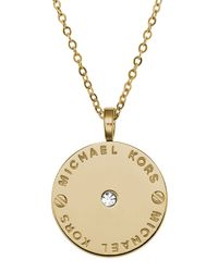 Michael Kors   Metallic Logo Disc Necklace   Lyst