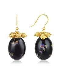 Naoto | Black Alchimia - Oval Gold Foil Drop Earrings | Lyst
