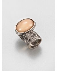 Saint Laurent | Natural Arty Ovale Ring/Silvertone | Lyst