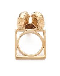Tory Burch - Metallic Ram Head Ring - Lyst