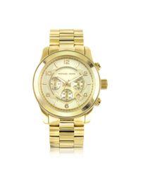 Michael Kors   Metallic Men'S Runway Gold-Tone Stainless Steel Bracelet Watch for Men   Lyst