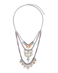 TOPSHOP - Multicolor Rhinestone And Chain Multirow Necklace - Lyst