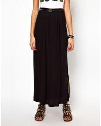 River Island | Black Maxi Skirt with Aztec Belt | Lyst