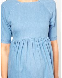 ASOS - Blue Smock Dress in Denim - Lyst