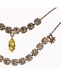 Stella McCartney - Metallic Rose Gold Brass and Stones Double Pendant Necklace - Lyst