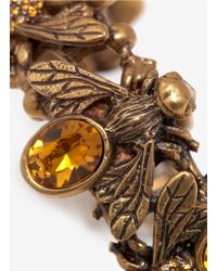 Alexander McQueen - Metallic Crystal-embedded Bees Toggle Bangle - Lyst