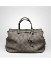 a1ef62225a Lyst - Bottega Veneta Poussin Intrecciato Nappa Brick Bag in Gray