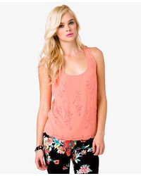 Forever 21 - Pink Beaded Racerback Top - Lyst