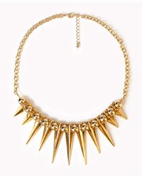 Forever 21 | Metallic Spiked Fringe Rolo Chain Necklace | Lyst
