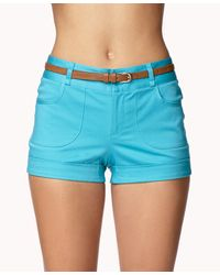 Forever 21 - Blue Contemporary Cuffed Shorts W/ Belt - Lyst