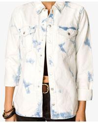 Forever 21 | Blue Standout Bleached Denim Jacket | Lyst