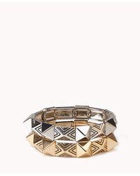 Forever 21 - Metallic Stretchy Pyramid Stud Bracelet Set - Lyst