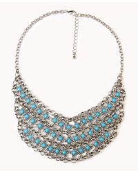 Forever 21 - Blue Rolo Chain Bib Necklace - Lyst