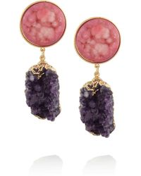 Dara Ettinger | Pink Celeste Goldplated Amethyst and Agate Earrings | Lyst
