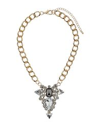 TOPSHOP - Multicolor Rhinestone Cluster On Chain - Lyst