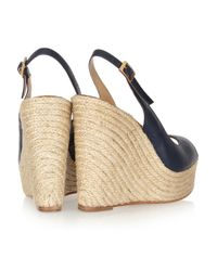 Paloma Barceló - Blue Leather Espadrille Wedge Sandals - Lyst