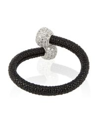 Kenneth Jay Lane - Gray Rhodium Plated Cubic Zirconia and Crystal Bracelet - Lyst
