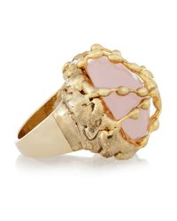 Rosantica - Pink Regale Golddipped Chalcedony Ring - Lyst