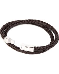 Tateossian | Brown Monaco Plaited Leather Bracelet for Men | Lyst