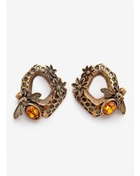 Alexander McQueen | Yellow Hexagon Bee Skull Earrings | Lyst