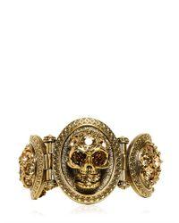 Alexander McQueen | Metallic Skull Stones Brass Bracelet | Lyst