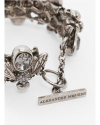 Alexander McQueen | Metallic Crystal-embedded Bee Toggle Bangle | Lyst