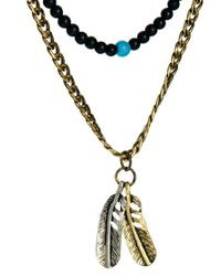ASOS - Metallic Gathered Necklace with Feather and Beads for Men - Lyst