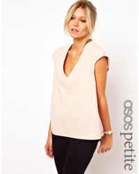 ASOS | Natural Petite Exclusive Top with Plunge Neck and Zip Back | Lyst