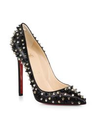 Christian Louboutin | Black Pigalle Spiked Leather Pumps | Lyst
