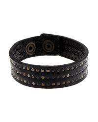DIESEL | Black Ascalios Leather Bracelet for Men | Lyst