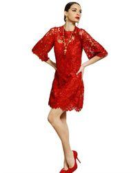 Dolce & Gabbana | Red Macramè Lace Dress | Lyst
