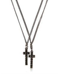 DSquared² | Black Swarovski Cross Pendant Necklace for Men | Lyst