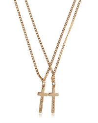 DSquared² - Metallic Logo Embossed Cross Pendant Necklace for Men - Lyst