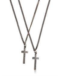 DSquared² | Gray Logo Embossed Cross Pendant Necklace for Men | Lyst