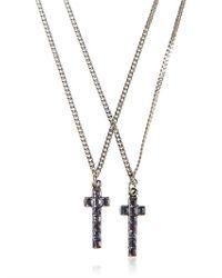 DSquared² | Metallic Swarovski Cross Pendant Necklace for Men | Lyst