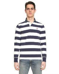 Ralph Lauren Blue Label - Blue Cotton Jersey Denim Collar Rugby Shirt for Men - Lyst