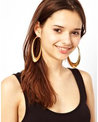 River Island - Metallic Sculpted Hoop Earrings - Lyst