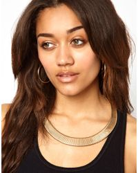 River Island - Metallic Slinky Chain Collar Necklace - Lyst