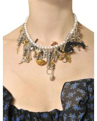 Saint Laurent - Metallic Customized Pearl Necklace - Lyst