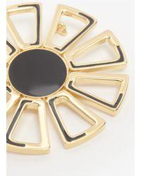 St. John - Metallic Enamel Floral-shaped Brooch - Lyst