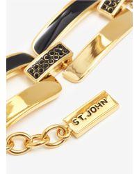 St. John   Metallic Enamel Jet-stone Chain Bracelet   Lyst