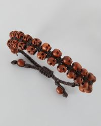 Tai - Brown Mens Stacked Woodskull Bracelet for Men - Lyst