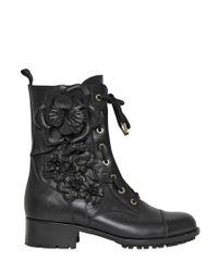 Valentino | Black 30mm Calfskin Embroidered Combat Boots | Lyst