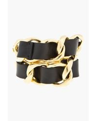 DSquared² - Black Leather and Gold Dino Chain Bracelet - Lyst