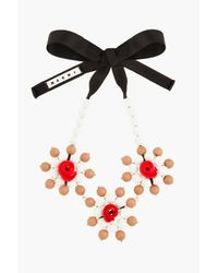 Marni - White and Red Beaded Rose Statement Necklace - Lyst
