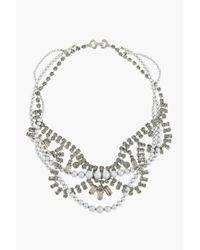 Tom Binns | Black Diamond Crystal and Grey Pearl Tangled Regal Rocker Necklace | Lyst