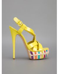 Casadei - Yellow Platform Sandal - Lyst