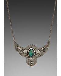 Spell & The Gypsy Collective | Green Thunderstruck Crystal Chest Plate Necklace W Turquoise Stone in Metallic Silver | Lyst
